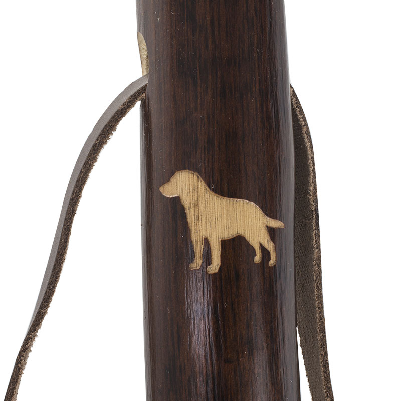Chestnut Hiking Staff with Labrador Retriever Carving